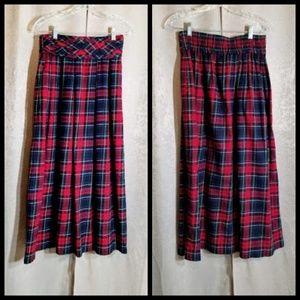 "Talbots Long Plaid Skirt Cotton sz 8 ""Pockets"""